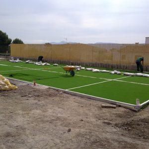 construcción campos fútbol mini césped artificial Verdepadel